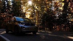 bmw, car, front view, motion, autumn, trees - wallpapers, picture