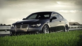 bmw, bmw 3 series coupe 335i coupe, lawn, grass, black, BMW - wallpapers, picture