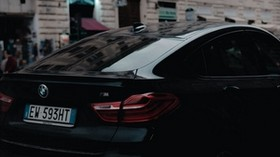 bmw, black, rear view, city - wallpapers, picture