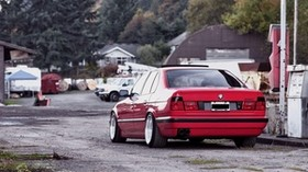 bmw, e34, 532i, tuning, red, auto, rear view - wallpapers, picture