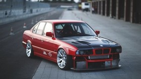 bmw, e34, red, auto, side view, sports car - wallpapers, picture