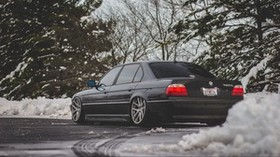bmw, e38, 740il, black, rear view - wallpapers, picture