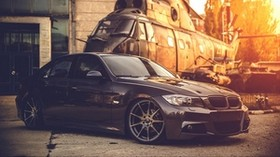 bmw, e90, deep concave, black, helicopter - wallpapers, picture
