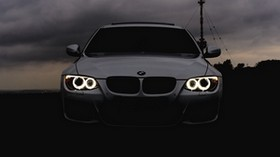 bmw, headlights, car, cloudy, clouds - wallpapers, picture