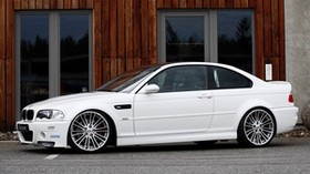 bmw, g-power, e46, m3, white, white, bmw, side view - wallpapers, picture