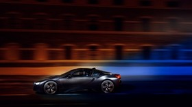 bmw i8, bmw, speed, movement, night - wallpapers, picture