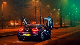 bmw i8, bmw, sports car, car, night, lights, the city, parking - wallpapers, picture