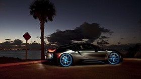 bmw i8, night, side view - wallpapers, picture