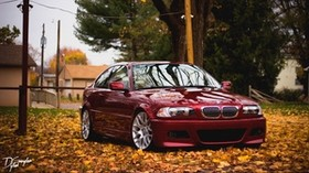 bmw, red, side view, foliage, autumn - wallpapers, picture