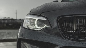 bmw m2, bmw, rain, drops, headlight - wallpapers, picture
