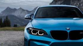 bmw m2, bmw, front view, blue, lights - wallpapers, picture