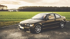 bmw, m3, black, side view, grass, trees - wallpapers, picture