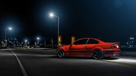 bmw, m3, e46, auto, red, side view, night - wallpapers, picture