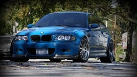 bmw, m3, e46, blue, front view - wallpapers, picture