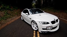 bmw, m3, e92, white, coupe, hood, road, marking - wallpapers, picture