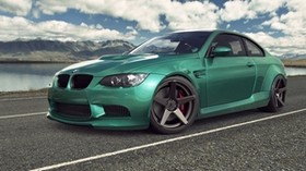bmw, m3, e92, green, bmw, m3, auto, machine, green, road, sky, clouds - wallpapers, picture