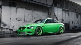bmw, m3, e92, green, bmw, green, side view, wing, shadow, building - wallpapers, picture