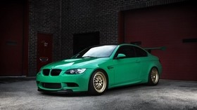 bmw, m3, e92, green, wheels, bmw, green, wing, brick walls, gates - wallpapers, picture