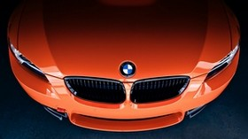 bmw, m3, orange, front, bmw, orange, nameplate, badge - wallpapers, picture