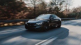 bmw m4, bmw, car, movement, speed, black, road - wallpapers, picture
