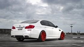 bmw, m5, f10, white, rear view - wallpapers, picture