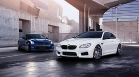 bmw m6, bmw, nissan gt-r, nissan, car - wallpapers, picture