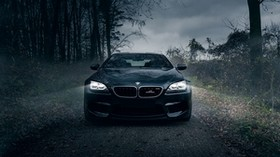 bmw m6, black, forest, fog, front bumper - wallpapers, picture