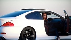 bmw, m6, e63, bmw, white, side view, girl - wallpapers, picture