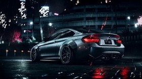 bmw, car, sports, coupe, gray, metallic, wet, night - wallpapers, picture