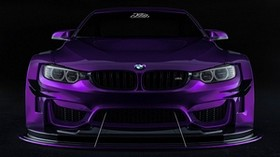 bmw, car, sports car, purple, front view - wallpapers, picture