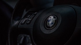 bmw, steering wheel, logo - wallpapers, picture