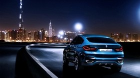 bmw x4, bmw, rear view, blue, city, night - wallpapers, picture