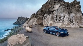 bugatti, chiron, blue, side view - wallpapers, picture