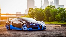 bugatti, veyron, grand, blue, side view - wallpapers, picture
