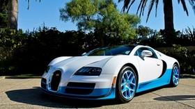 bugatti, veyron, vitesse, blue, palm trees - wallpapers, picture