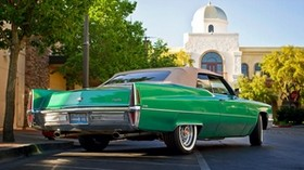 cadillac, de ville, convertible, 1970, rear view, green - wallpapers, picture
