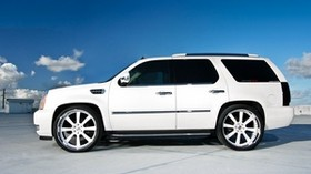 cadillac, escalade, white, wheels, cadillac, escalade, white, profile, wheels, roof, parking - wallpapers, picture