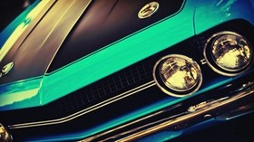 challenger, classic car, muscle car, street rod, headlights, front bumper - wallpapers, picture