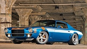 chevrolet, camaro, 1971, chevrolet camaro, blue, side view - wallpapers, picture