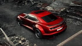 chevrolet camaro, chevy camaro, carbon, red, top view - wallpapers, picture
