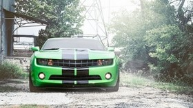 chevrolet, camaro, green, chevrolet, camaro, front, green, black, stripes - wallpapers, picture