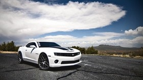 chevrolet, camaro ss, white, side view - wallpapers, picture