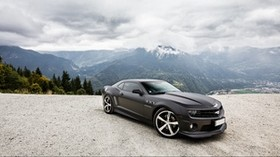 chevrolet, camaro ss, black, chevrolet, camaro ss, black, sky, clouds, mountains - wallpapers, picture