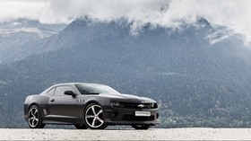 chevrolet, camaro ss, black, side view, mountains - wallpapers, picture