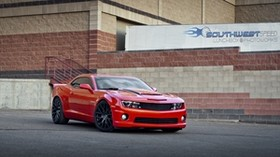 chevrolet, camaro ss, red, side view - wallpapers, picture