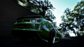 chevrolet, camaro, green, rear bumper, speed, blur - wallpapers, picture