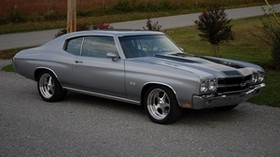 chevrolet, chevelle, ss, 1970, gray, side view - wallpapers, picture