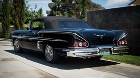 chevrolet, chevy, 1958, impala, black, rear view - wallpapers, picture