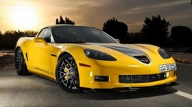 chevrolet, corvette, c6, yellow, front view - wallpapers, picture