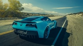 chevrolet, corvette, c7, stingray, forgiato, blue, rear view - wallpapers, picture